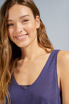 Womensecret Haut bretelles dentelle bleu bleu