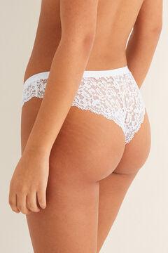Womensecret Guipure lace Brazilian panty white