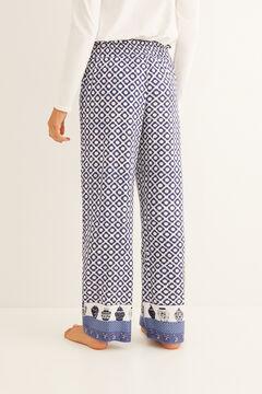 Womensecret Long pyjama bottoms with navy blue stamp print pattern blue