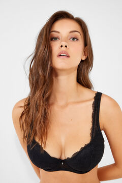 Womensecret Classic lace and plumetti bra black