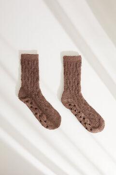 Womensecret Ribbed fluffy mid-length socks grey