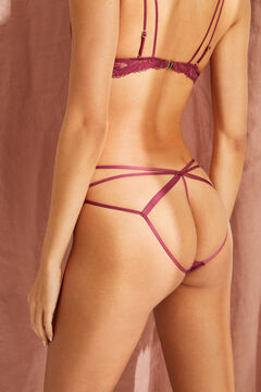 Womensecret Maroon multi strap detail classic panty printed