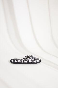 Womensecret Zebramintás, lapos sarkú nyitott, díszcsomós házipapucs fehér