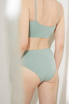 Womensecret Culotte haute tanga sans coutures verte vert
