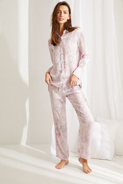 Womensecret Classic long pyjamas in pink floral satin pink