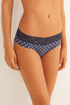 Womensecret Cotton full panty with navy lace blue