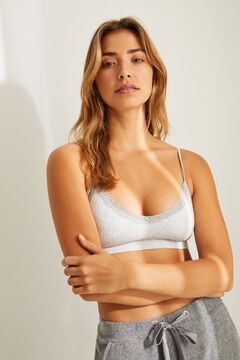 Womensecret Seam-free bra top with removable cups grey