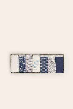 Womensecret 7er-Pack klassische Slips mit Print Grau und Marineblau Grün