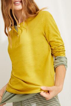 Womensecret Henleyshirt mit langen Ärmeln Olivgrün Baumwolle Grün