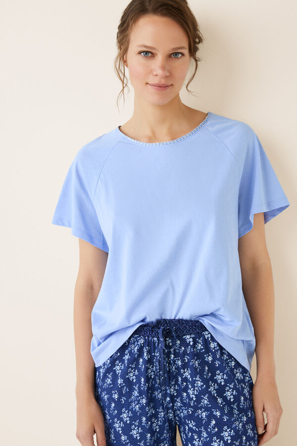 3c70c0a6de Womensecret Pijama largo algodón azul beige