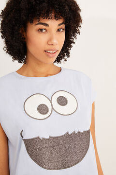 Womensecret Cookie Monster short-sleeved midi nightgown blue