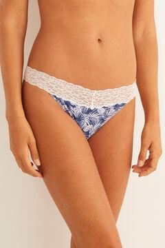 Womensecret Lace detail microfibre tanga  blue