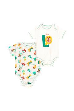 """Womensecret Pack 2 bodys """"animais"""" do bebê - Algodão orgânico cinzento"""
