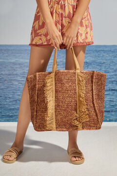 Womensecret Large raffia effect bag nude