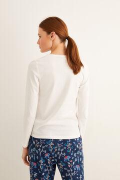 Womensecret Long-sleeved Henley t-shirt beige