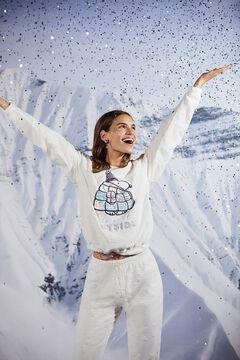 Womensecret Pijama largo polar blanco Snoopy  beige