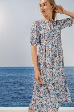 Womensecret Robe mi-longue florale volants durable bleu