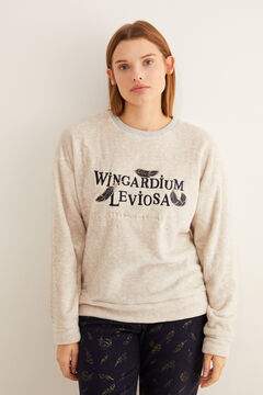 Womensecret Long fleece Wingardium Leviosa pyjamas grey