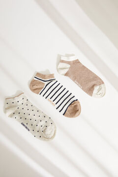 Womensecret Pack of 3 brown printed mid-length socks printed