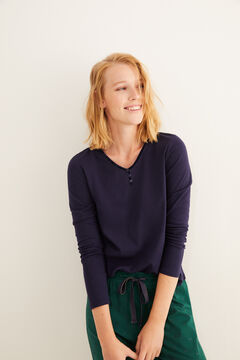 Womensecret Navy long-sleeved Henley top blue