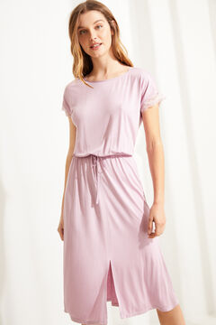 Womensecret Pink super soft satin short-sleeved midi nightgown pink