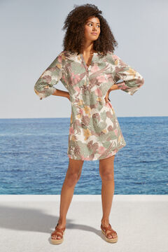 Womensecret Floral tunic with buttons white
