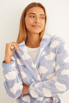 Womensecret Blue cloud fleece robe blue