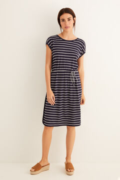 Womensecret Belted sailor stripes dress blue