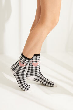 Womensecret Black gingham mid-length socks black