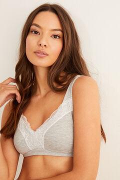 Womensecret Spezieller Post-Surgery BH aus Baumwolle und Spitze grau