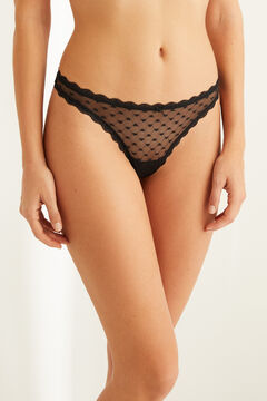 Womensecret Black flocked tulle tanga black
