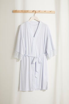 Womensecret Satin lace maternity robe blue