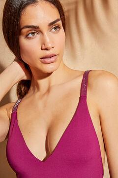 Womensecret Fuchsia pink V-neck sparkly straps halterneck swimsuit printed