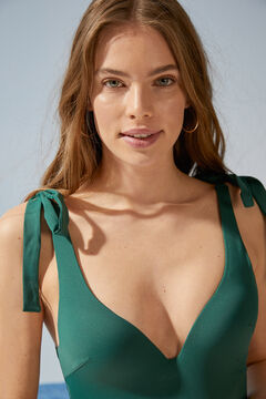 Womensecret Green V-neck shaping swimsuit with ties green