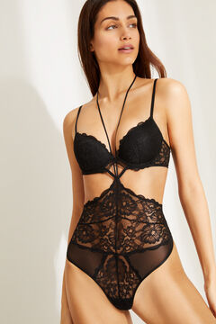 Womensecret Black lace padded cut out body black
