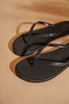 Womensecret Black flip-flops with rhinestones black