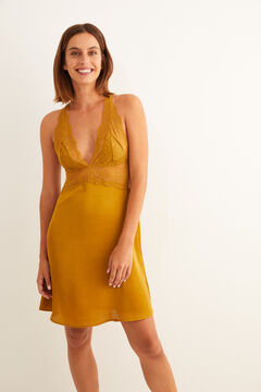 Womensecret Short mustard satin and lace nightgown printed