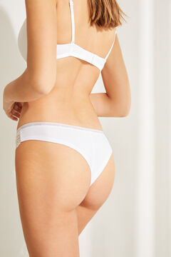 Womensecret Braguita brasileña algodón orgánico detalles encaje  beige