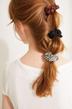 Womensecret Pack of 3 mini black and animal print scrunchies white