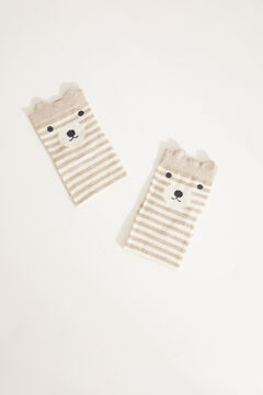 Womensecret Striped bear cotton short socks nude