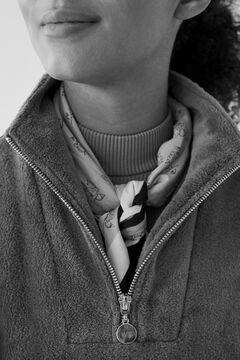 Womensecret Long green striped fleece sweatshirt beige