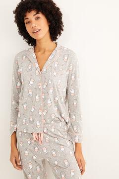 Womensecret Pyjama chemise manches longues Miffy gris