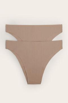 Womensecret Lot de 2 culottes classique en coton nude