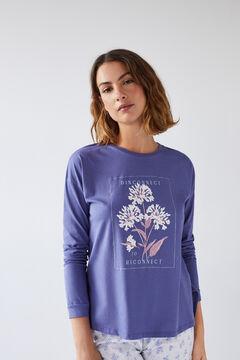 Womensecret Blue cotton long-sleeved T-shirt blue