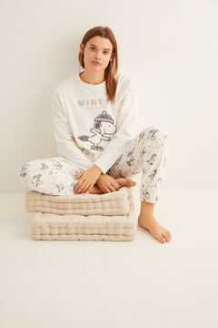 Womensecret Pijama largo velour Snoopy beige