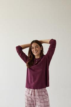 Womensecret Langes Henleyshirt Baumwolle Bordeauxrot red