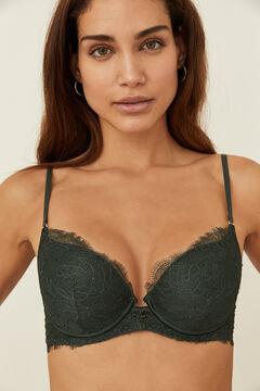 Womensecret Green lace padded push-up bra green