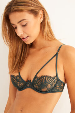 Womensecret Green lace exposed underwire bra green