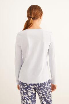 Womensecret Blue long-sleeved Henley t-shirt blue