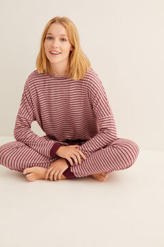 Womensecret Pijama largo invierno rayas granate marrón